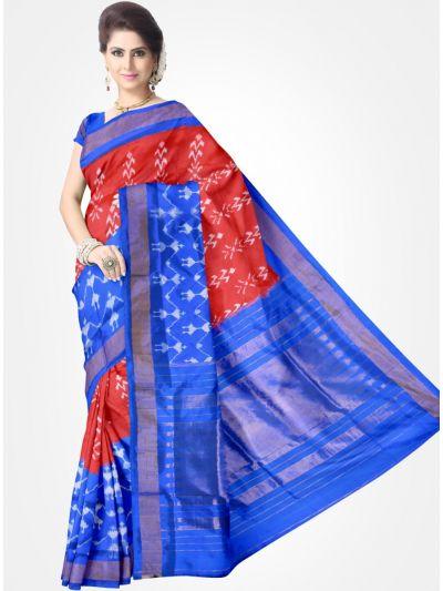 Red and Blue Pochampally Ikat Silk Saree
