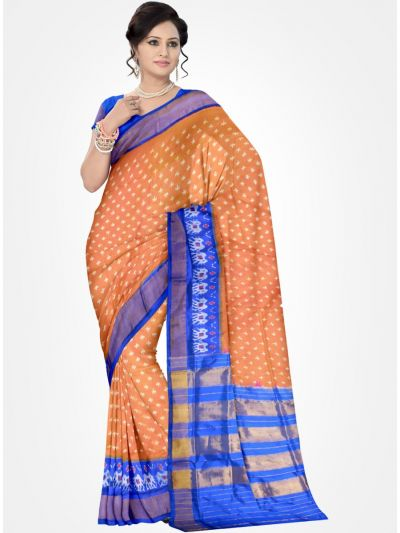 Orange and Blue Pochampally Ikat Silk Saree