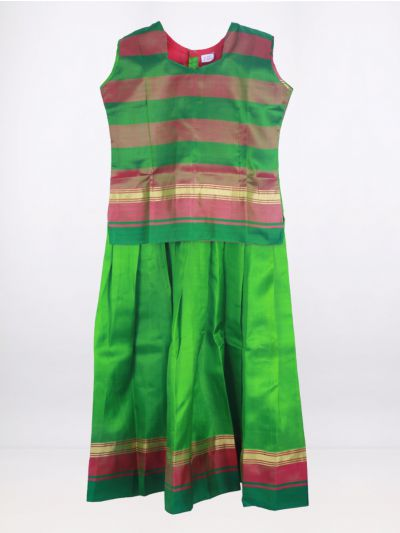 Fancy Art Silk Pattu Pavadai - Green - ASPP2020