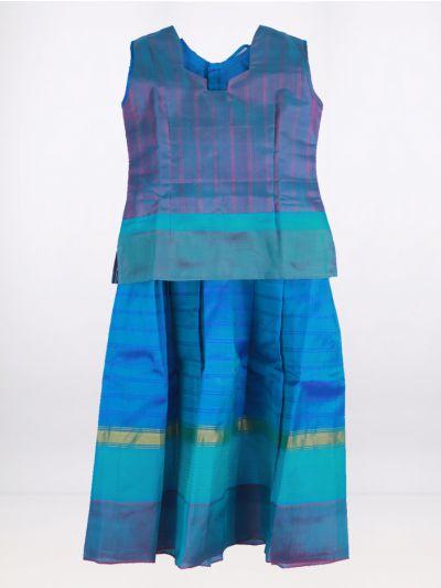 Fancy Art Silk Pattu Pavadai - Blue - ASPP2027