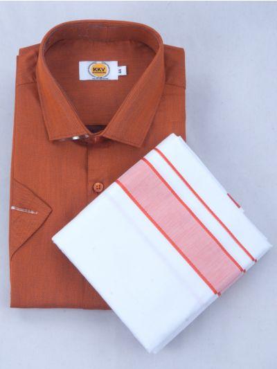KKV Cotton Half Sleeve Shirts & Fancy Border Dothi - KKVC2029