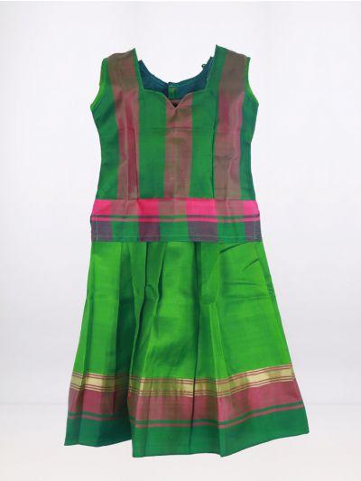 Fancy Art Silk Pattu Pavadai - Green - ASPP2031