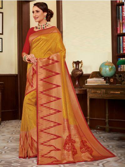 Woven Soft Banarasi Yellow with Red Saree