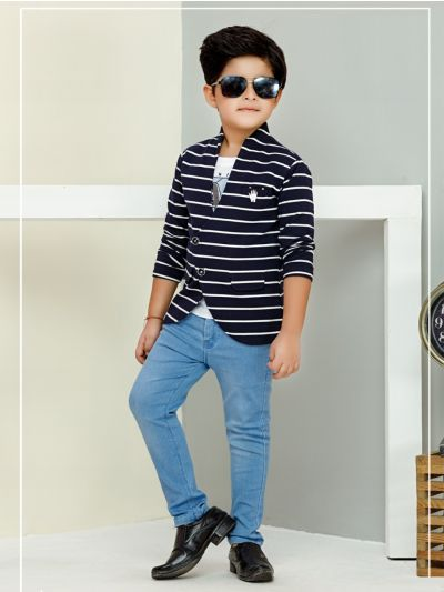 Boys Full Sleeves Blazer With Print T-Shirt - BCS2115