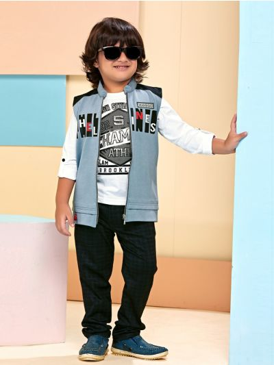 Boys Full Sleeve Tee With Jacket & Bottom Set - BCS2218