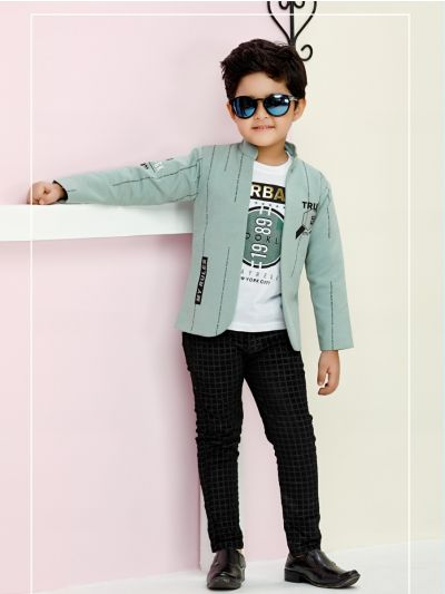 Boys Full Sleeves Blazer With Print Tee - BCS2243