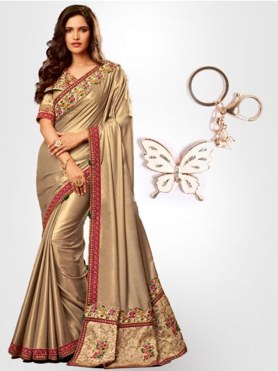 Chiffon Partywear  Saree with Imported Keychain - PWS2301K37