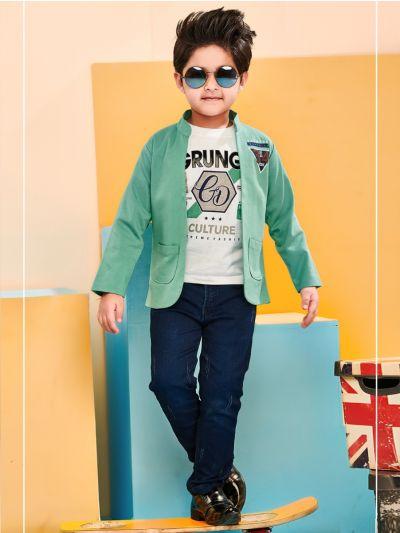 Boys Full Sleeves Blazer With Print T-Shirt - BCS2302