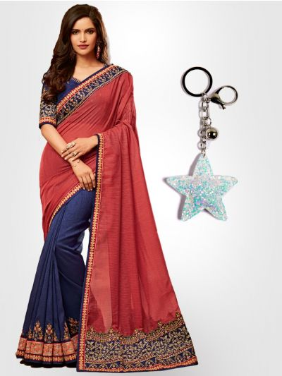 Chiffon Partywear Half and Half Saree with Imported Keychain - PWS2304K19
