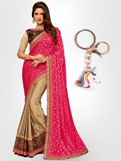 Chiffon Partywear Half and Half Saree with Imported Keychain - PWS2307K31