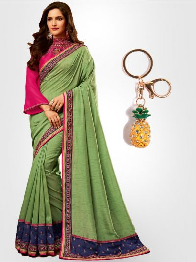 Chiffon Partywear Saree with Imported Keychain - PWS2309K10