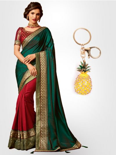 Chiffon Partywear Half and Half Saree with Imported Keychain - PWS2310K4