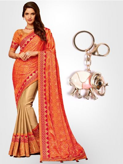Chiffon Partywear Half and Half Saree with Imported Keychain - PWS2311K18