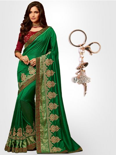 Chiffon Partywear Saree with Imported Keychain - PWS2312K36