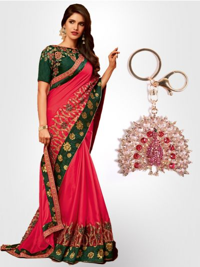 Chiffon Partywear  Saree with Imported Keychain - PWS2313K33
