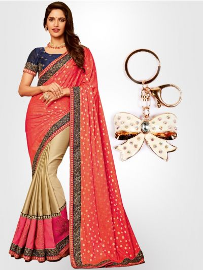 Chiffon Partywear Half and Half Saree with Imported Keychain - PWS2314K5