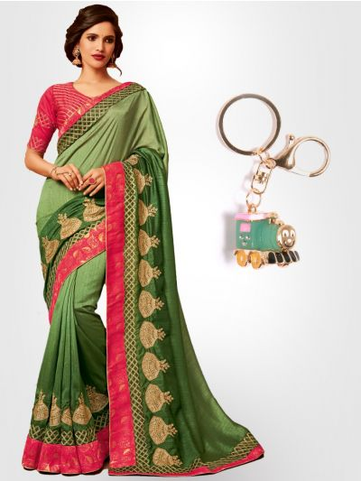 Chiffon Partywear Saree with Imported Keychain - PWS2315K41