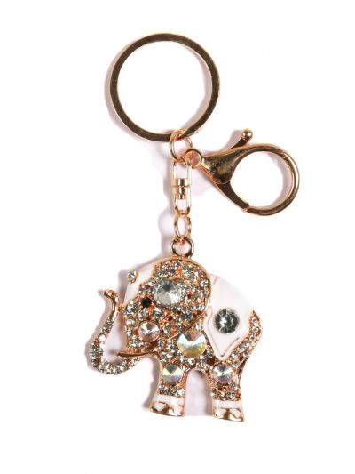White Stone Elephant Key Chain With Crystal Stone and Gold Metal Ring - KCC23