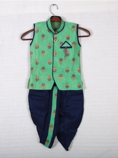 Hooks Sleeveless Kurtha and Dothi - Green and Blue