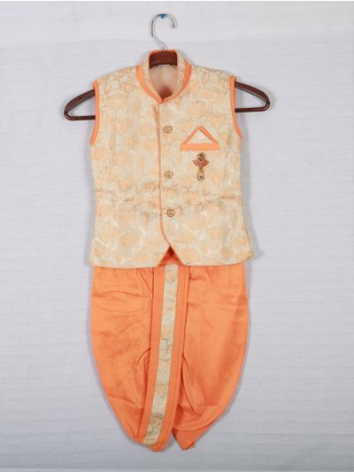 Hooks Sleeveless Kurtha and Dothi - Orange and Cream