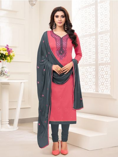 Isabella Women's Embroidered Cotton Dress Material - GENA25001