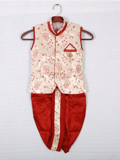 Hooks Sleeveless Kurtha and Dothi - Cream and Red