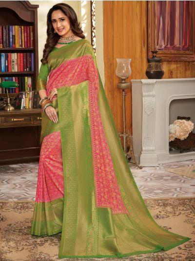 Woven Soft Banarasi Pink Saree