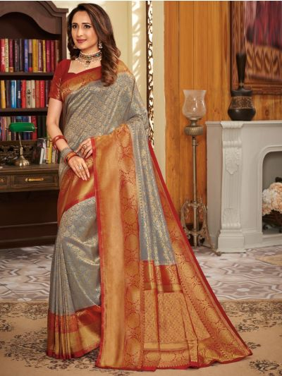 Woven Soft Banarasi Grey Saree