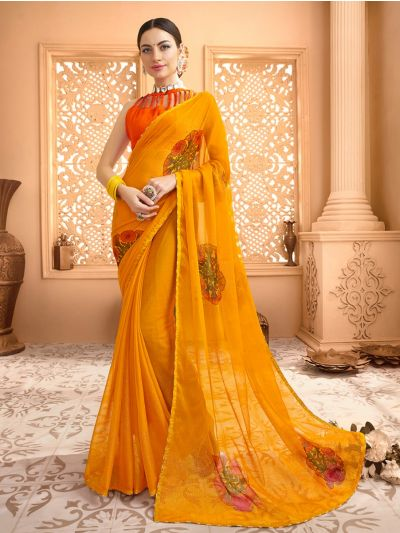 Women's Fancy Printed Chiffon Saree - MIA2754809