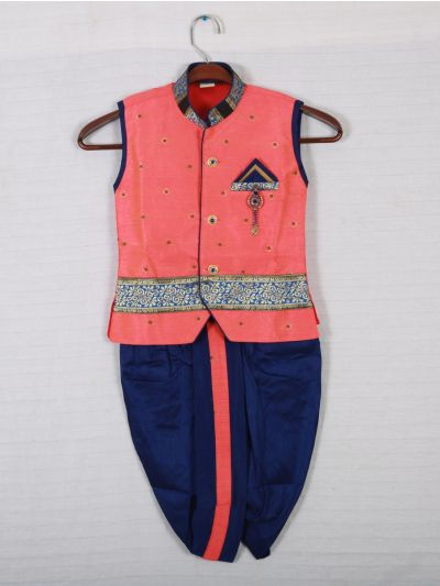 Hooks Sleveeless kurtha and Dothi - Pink with Blue-KD253