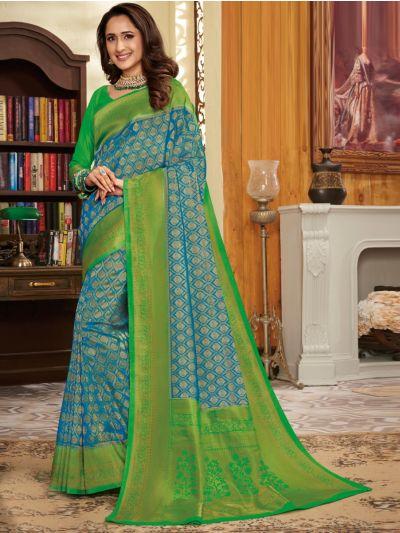 Kathana Woven Soft Banarasi Blue Saree