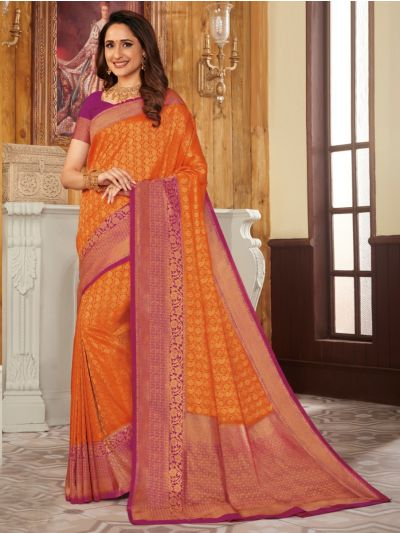 Woven Soft Banarasi Orange Saree