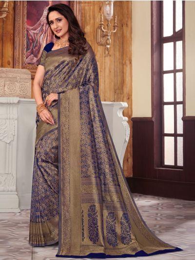 Woven Soft Banarasi Blue Saree