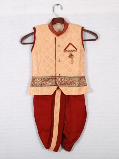 Hooks Sleeveless Kurtha and Dothi - Cream and Maroon-KD256