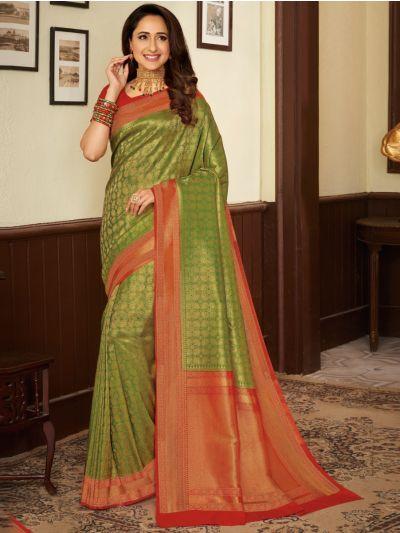 Woven Soft Banarasi Green Saree