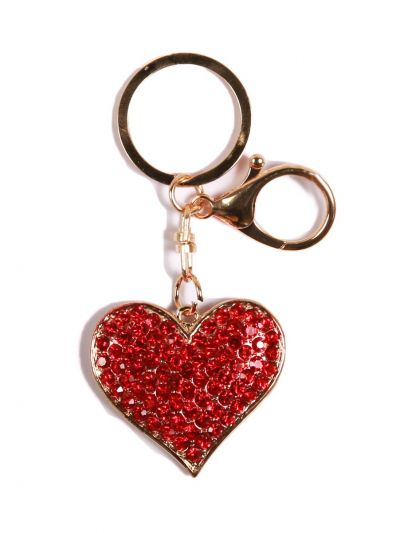 Herringbone Heart Key Chain With Red Color Crystal Stone and Gold  Metal Ring - KCC26