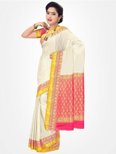 Offwhite Mysore Silk Saree