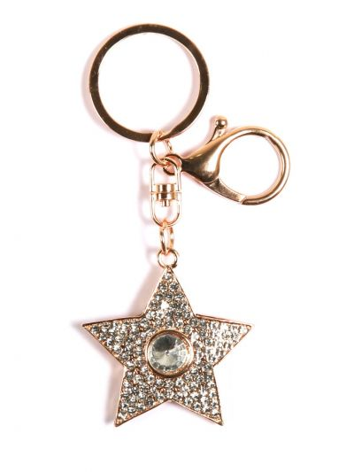 Star Key Chain With Crystel Stone and Gold Metal Ring - KCC27