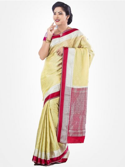 Cream Mysore Silk Saree