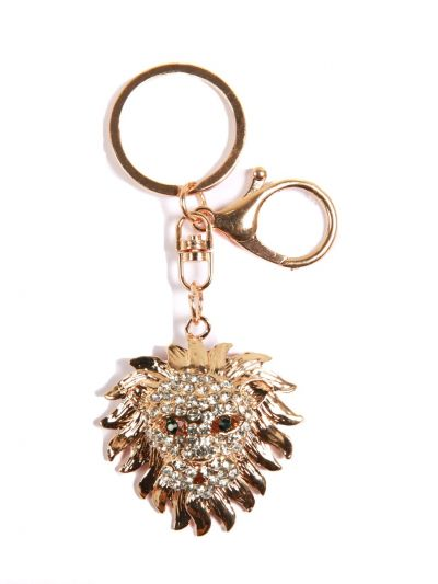 Lion Stone Face Key Chain With Multi Color Crystal Stone and Gold Metal Ring - KCC029