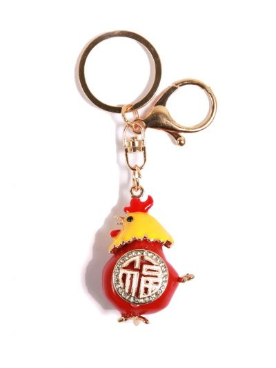 Red Rooster Key Chain With Red Color Crystal Stone and Gold  Metal Ring - KCC30