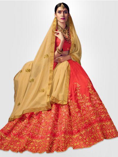 Women's Embroidered Semi-Stitched Lehenga Choli & Unstitched Blouse with Dupatta - FLC3120B