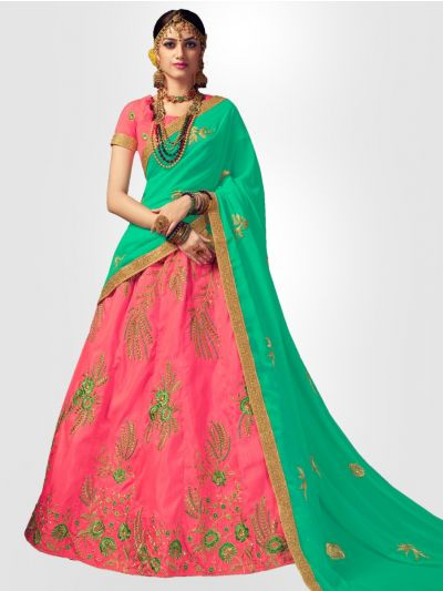 Women's Embroidered Semi-Stitched Lehenga Choli & Unstitched Blouse with Dupatta - FLC3124A