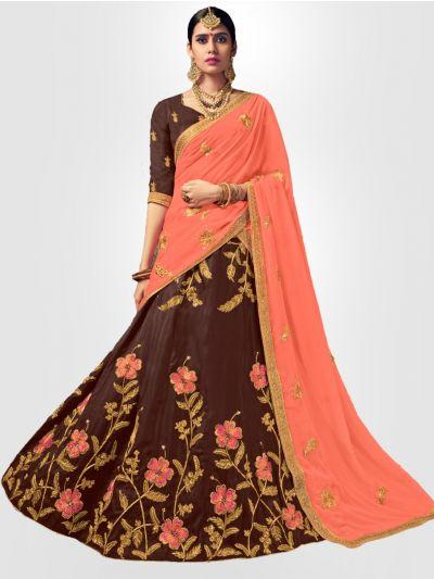 Women's Embroidered Semi-Stitched Lehenga Choli & Unstitched Blouse with Dupatta - FLC3127A