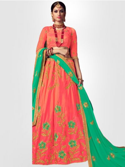 Women's Embroidered Semi-Stitched Lehenga Choli & Unstitched Blouse with Dupatta - FLC3127B