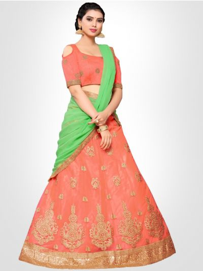 Women's Embroidered Semi-Stitched Lehenga Choli & Unstitched Blouse with Dupatta - FLC3149D