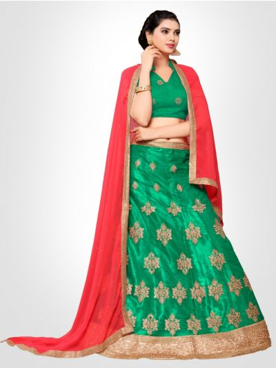 Women's Embroidered Semi-Stitched Lehenga Choli & Unstitched Blouse with Dupatta - FLC3150D