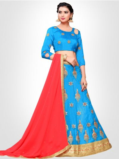 Women's Embroidered Semi-Stitched Lehenga Choli & Unstitched Blouse with Dupatta - FLC3151C