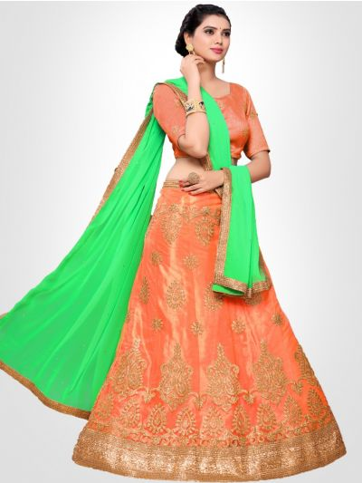 Women's Embroidered Semi-Stitched Lehenga Choli & Unstitched Blouse with Dupatta - FLC3152B