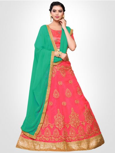 Women's Embroidered Semi-Stitched Lehenga Choli & Unstitched Blouse with Dupatta - FLC3152C